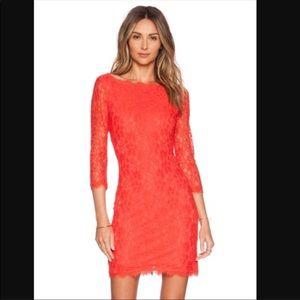 Diane Von Furstenberg Coral Lace Dress